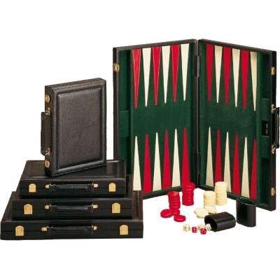 Backgammon black leather like big (17,8 inch)