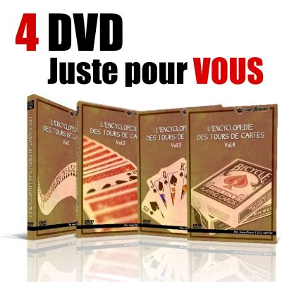 "DVD ""Encyclopédie des tours de cartes"" set 4 DVD Vallarino"