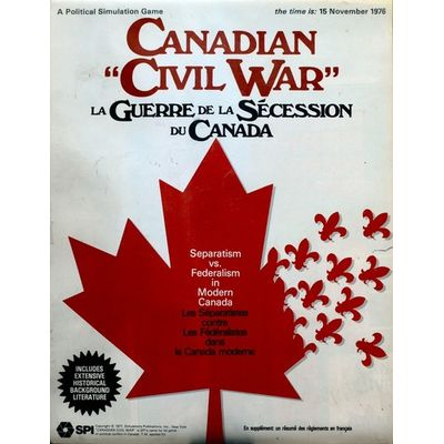 Canadian Civil War (1977) SPI Simulations Publications Inc Board