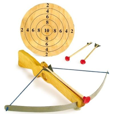 Crossbow in wood with 3 arrows big